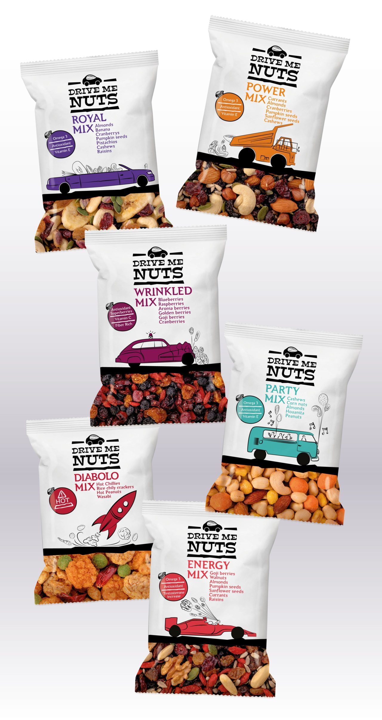 Drive me nuts dry food mixes packaging design