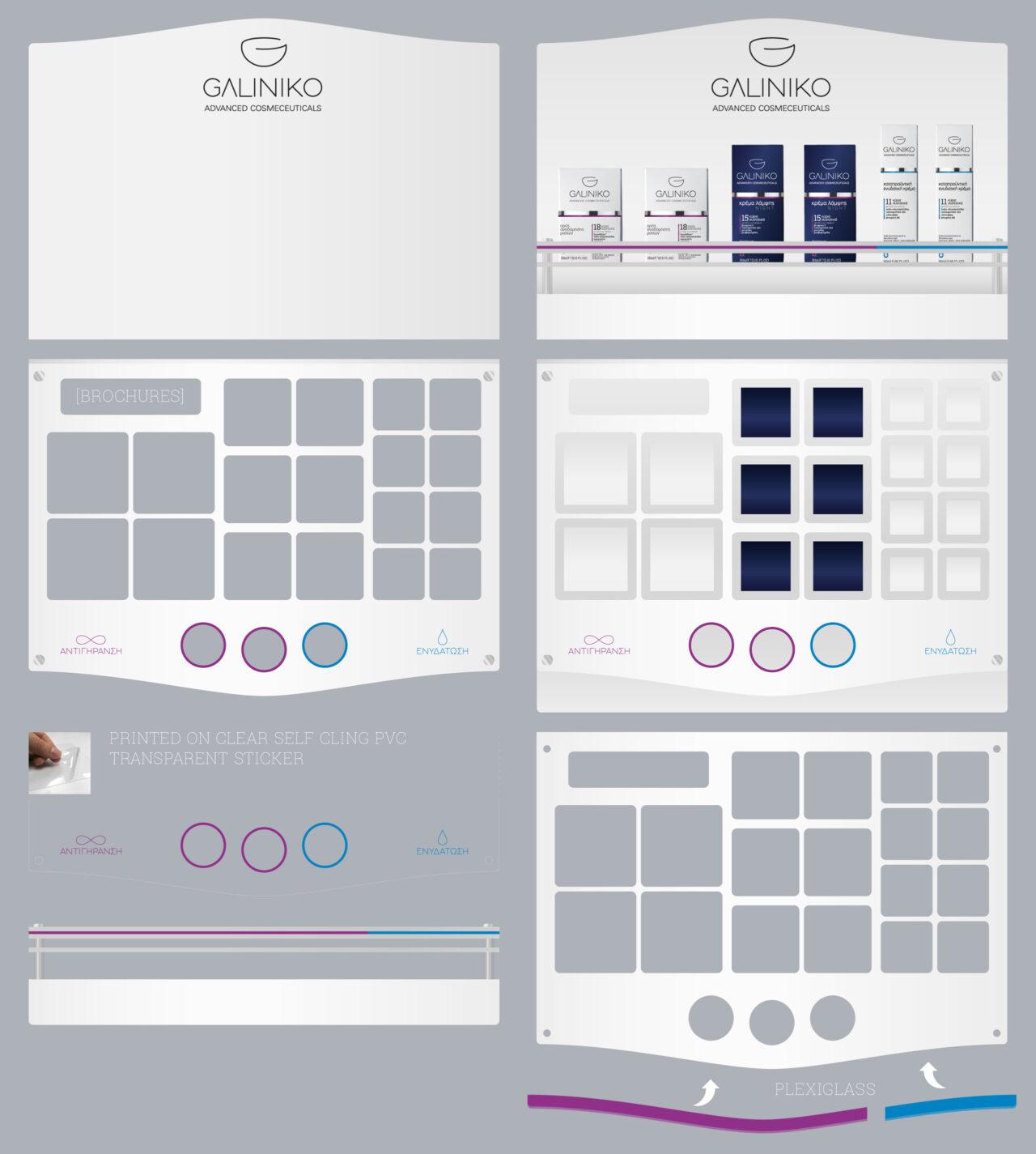 Galiniko retail pharmacies acrylic display stand design