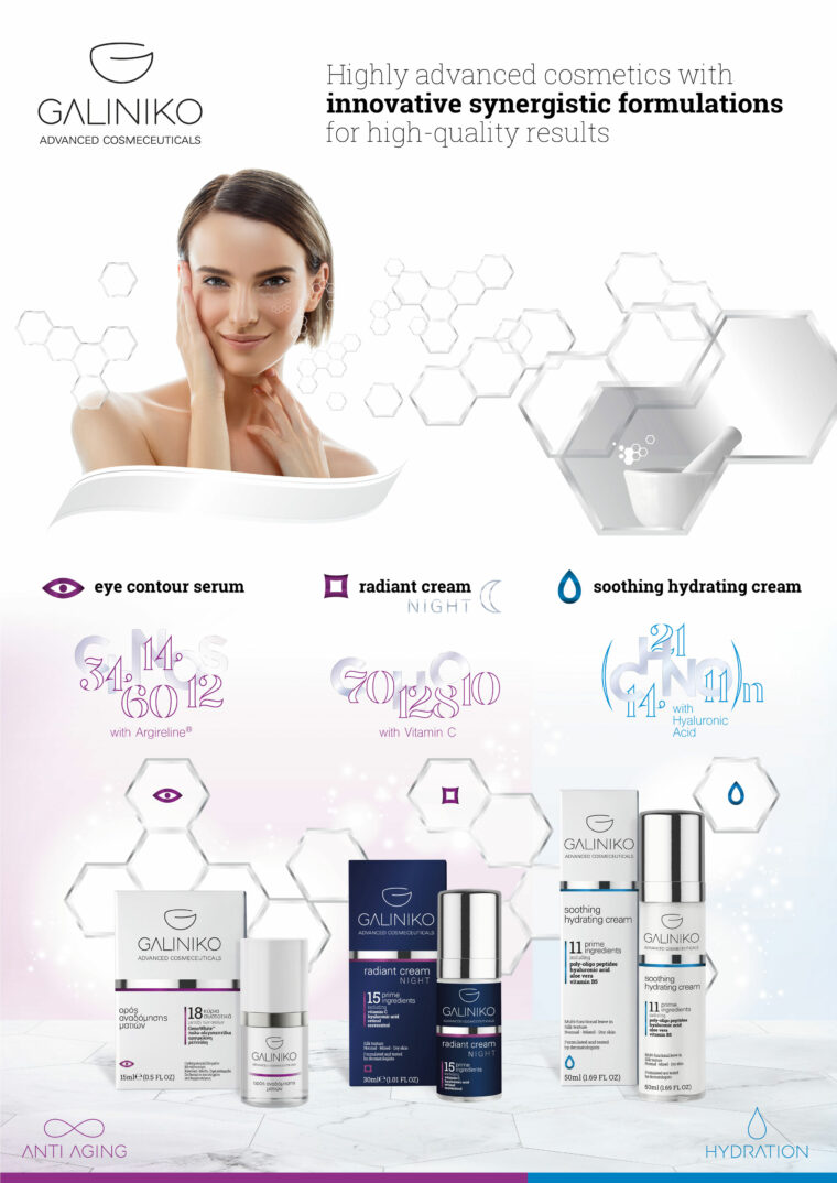 Galiniko advanced skincare cosmeceuticals series brand identity and promotion system visual guidelines design