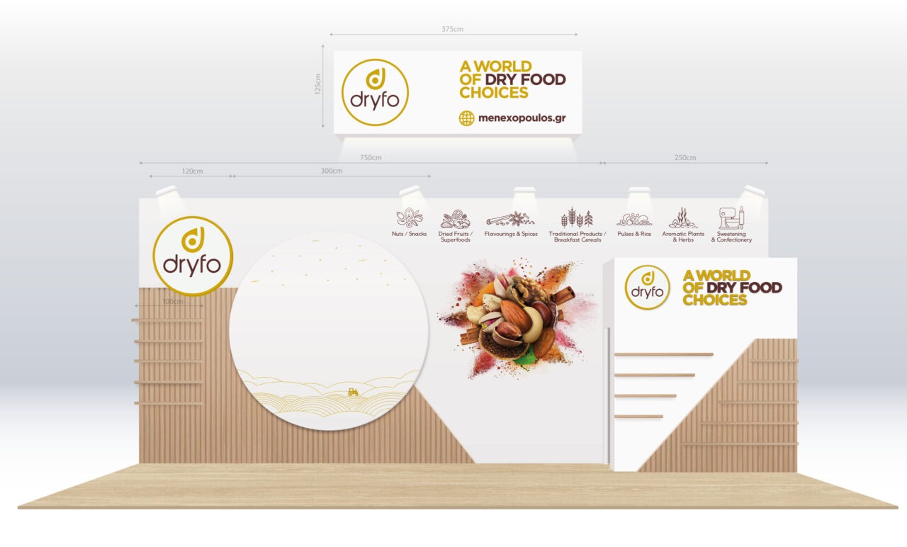 Trade show concept design for Dryfo Menexopoulos Bros SA Food Expo 2020