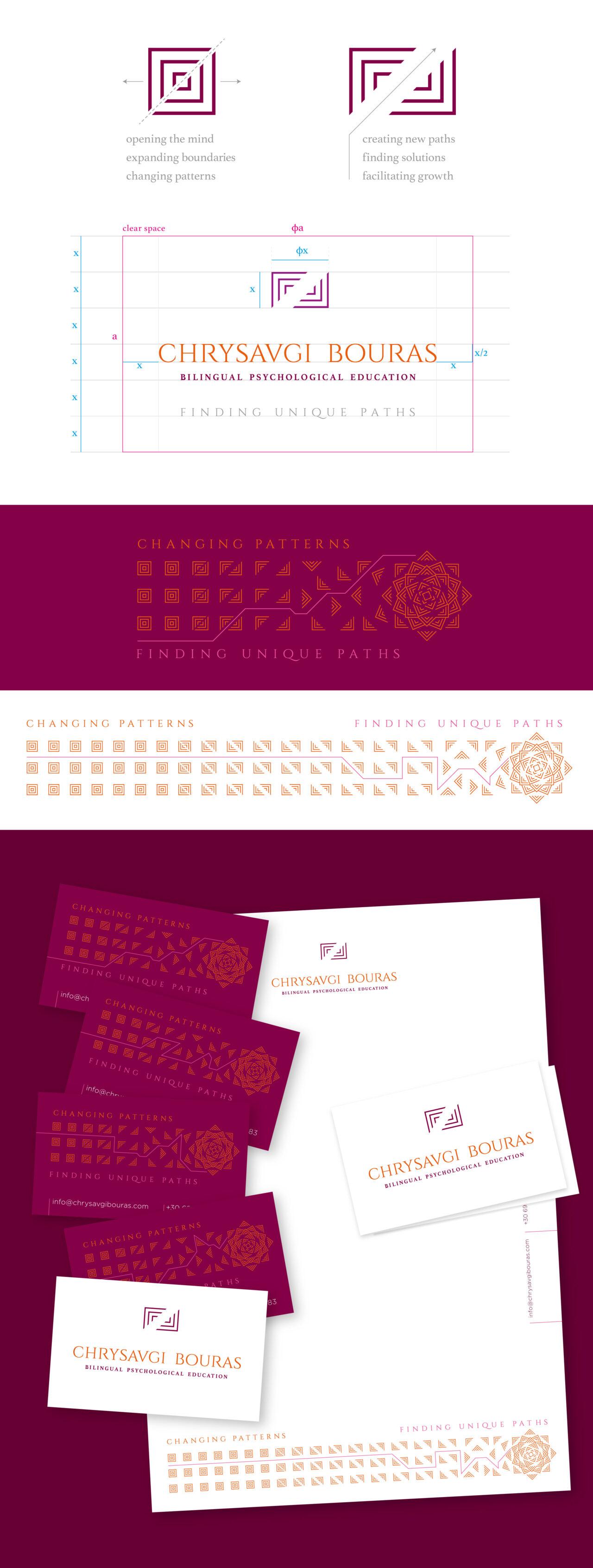 Personal branding concept for Chrysavgi Bouras bilingual psychological educator designed by Plus Gravity