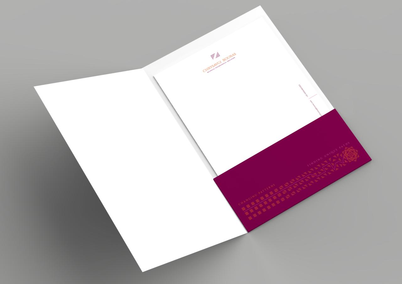 Corporate folder design for Chrysavgi Bouras bilingual psychological educator
