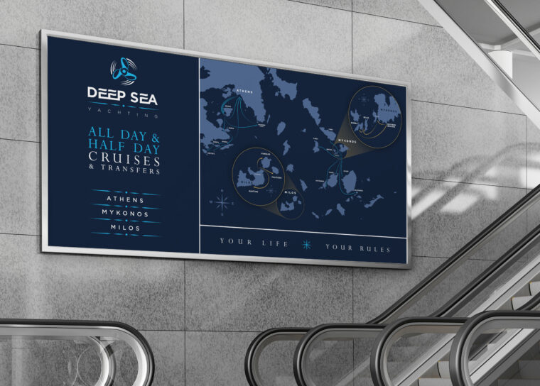 Backlit wall banner design and custom map design for Deep Sea yachting