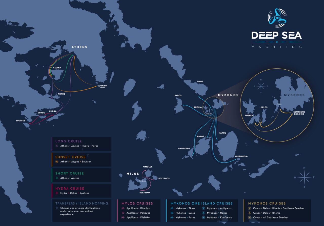 Custom yachting routes map design for Deep Sea