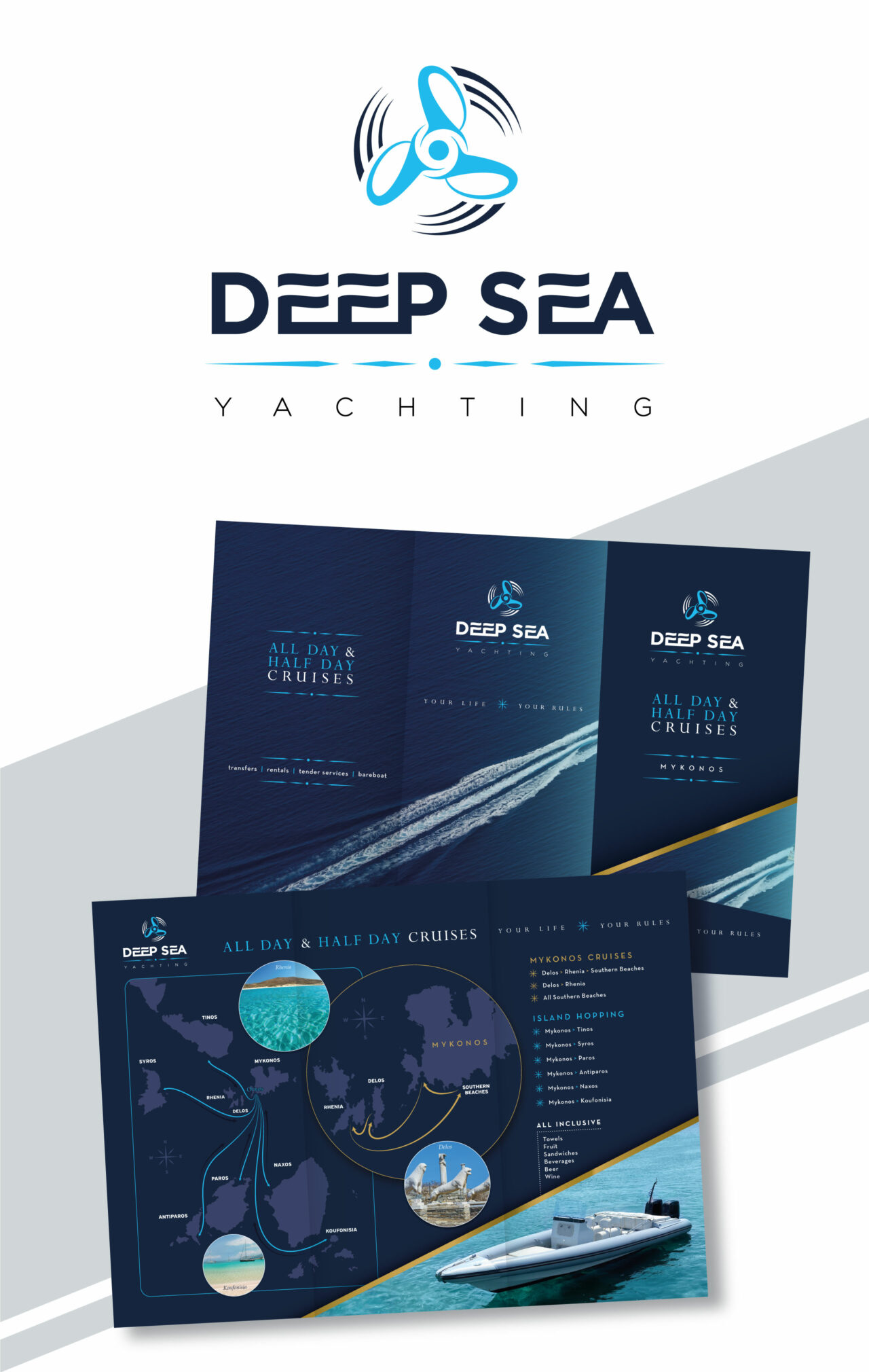 Yachting branding design for Deep Sea. Visual brand identity and custom maps design by Plus Gravity