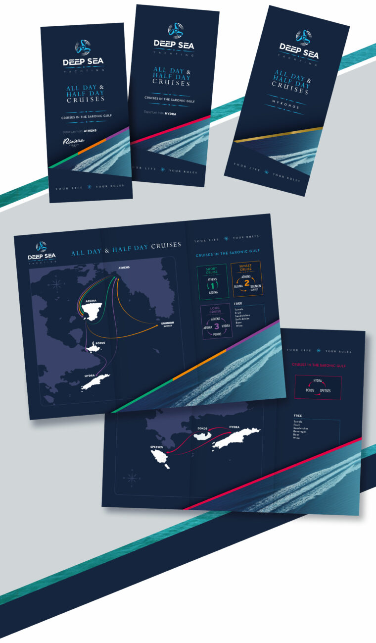 Corporate advertising brochures and custom map design for Deep Sea yachting