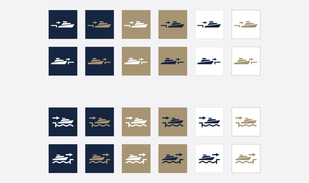 Custom vector icons design for Deep Sea yachting