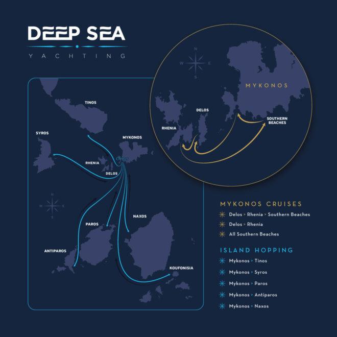 Custom Mykonos Tinos Syros Rhenia Delos and southern beaches map design for Deep Sea yachting