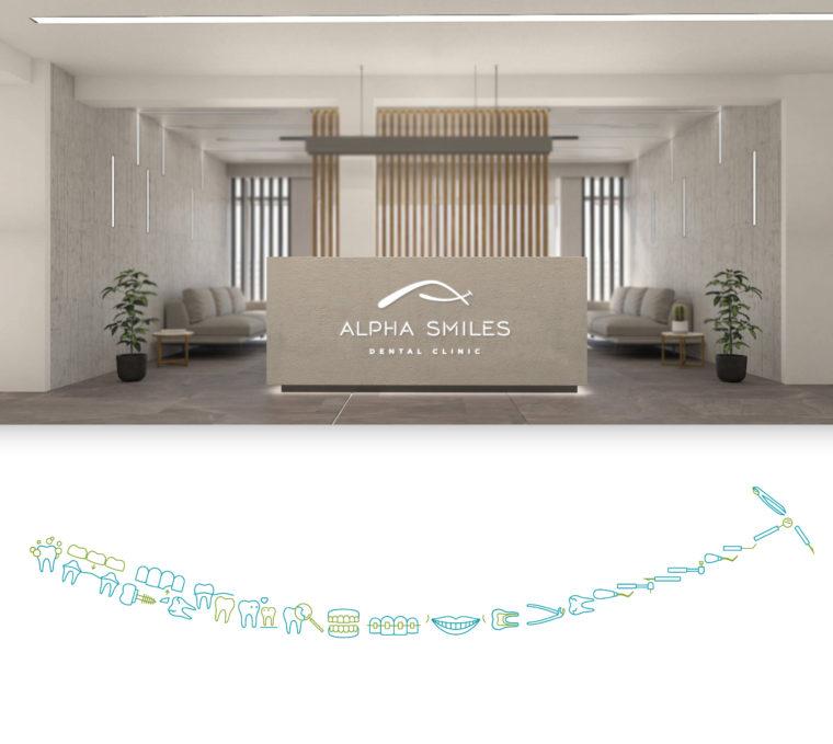 Alpha Smiles dental clinic interior branding design and creative key visual