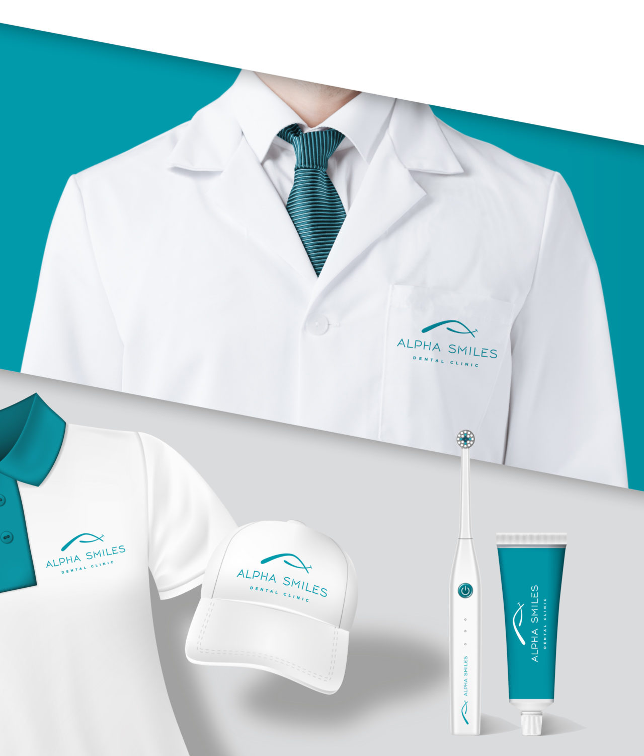 Pesentation of hat, tshirt and other dental related branded materials for Alpha Smiles dental clinic