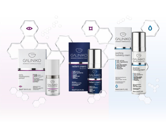 Galiniko advanced cosmeceuticals triplet branding and packaging design system
