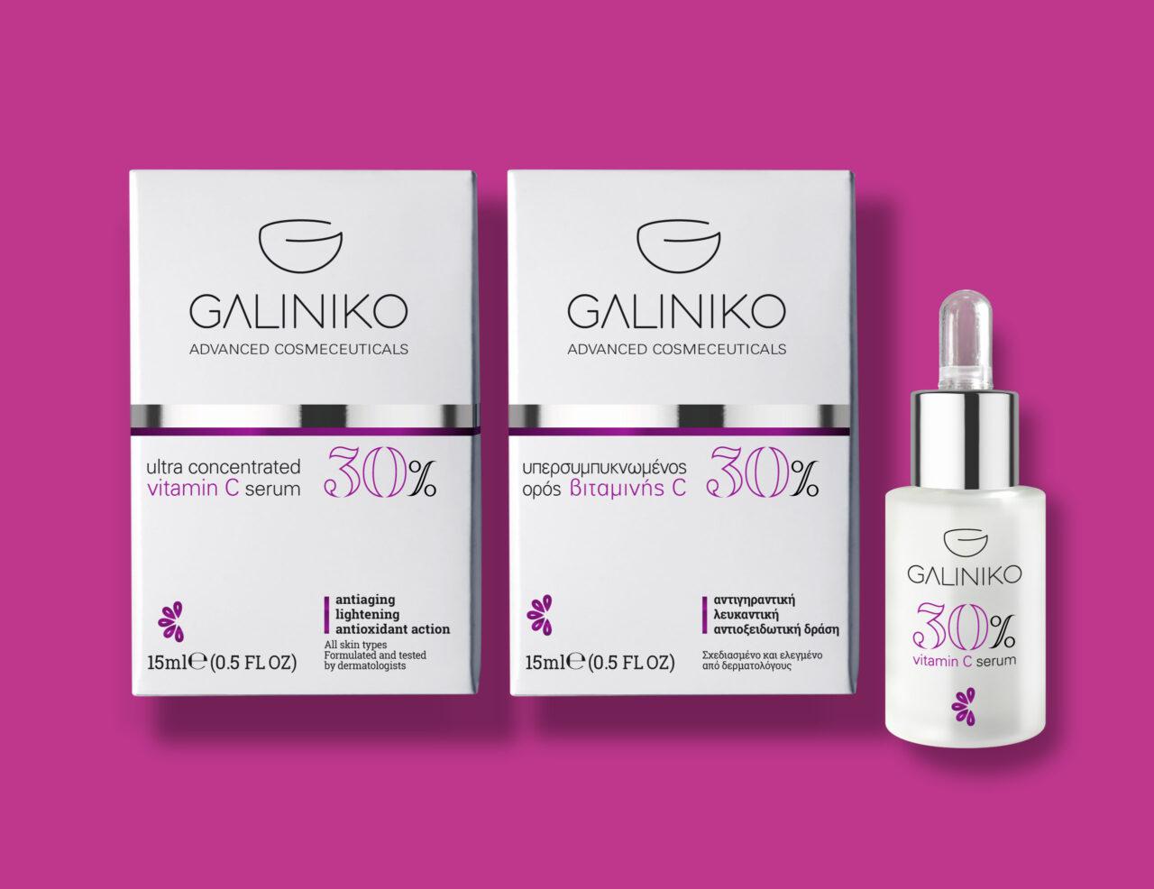 Galiniko advanced cosmeceuticals Vitamin C serum branding and packaging design