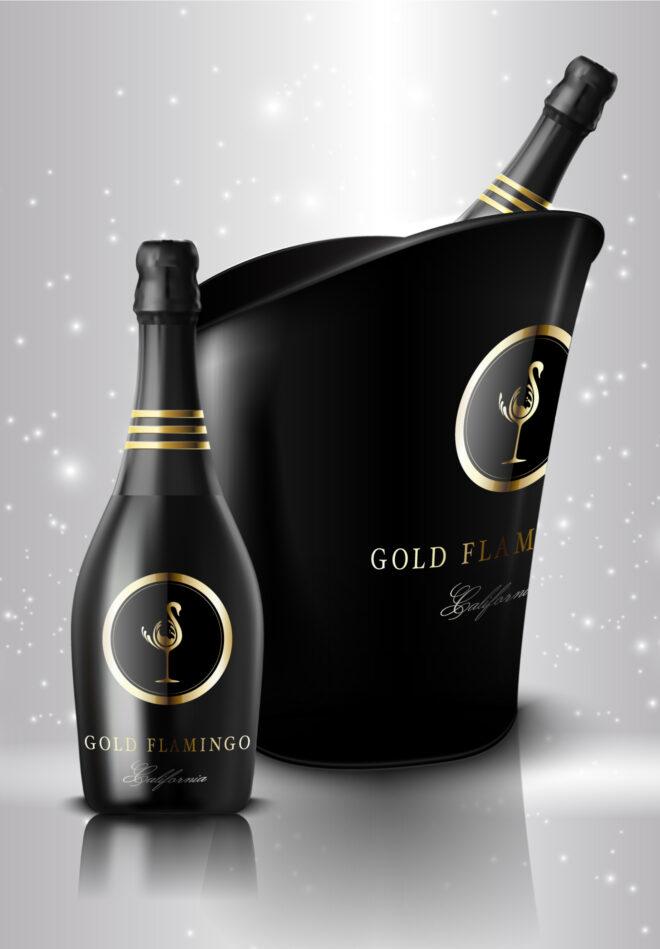Gold flamingo sparkling wine creative branding logo concept and label design
