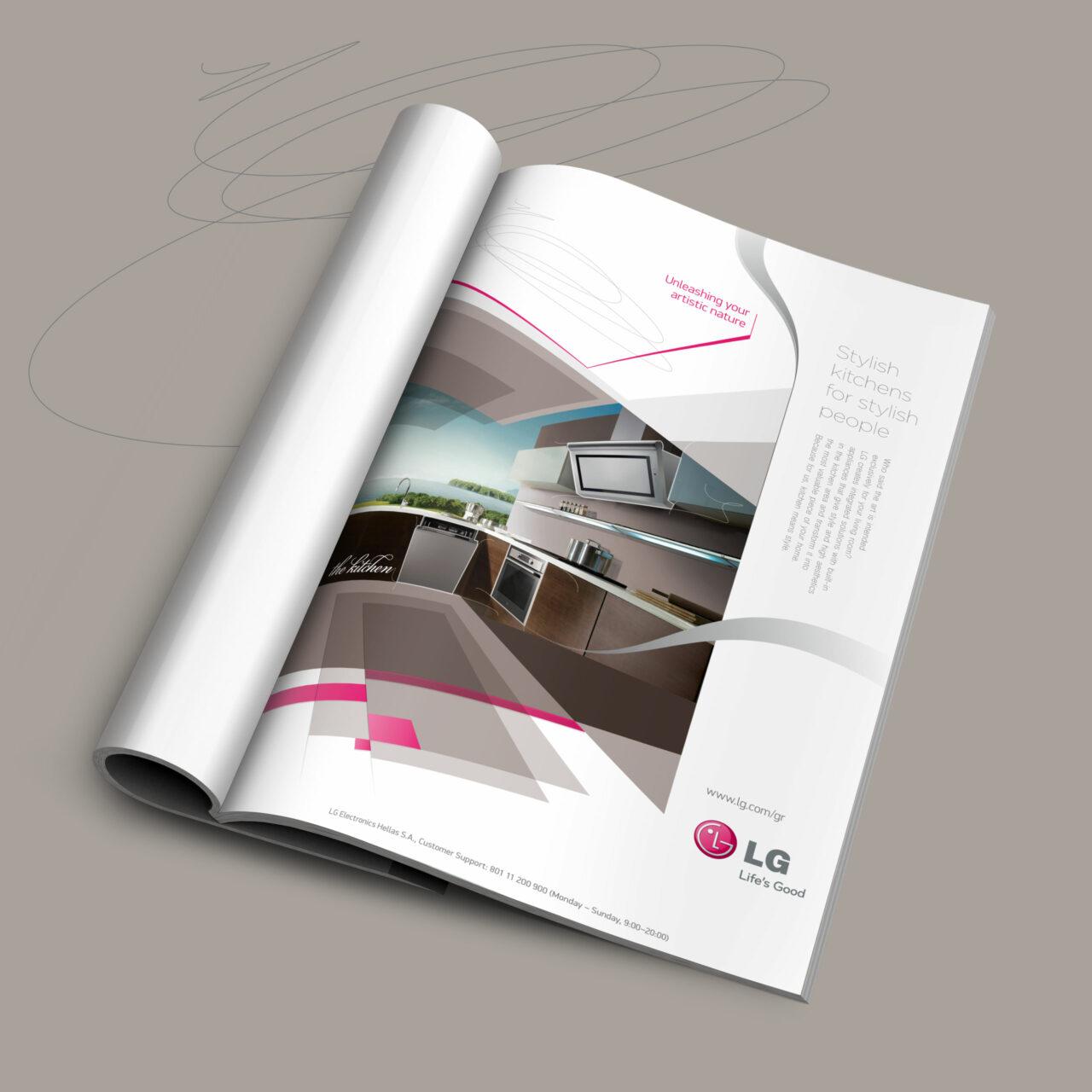 LG kitchen print ad preview mockup design