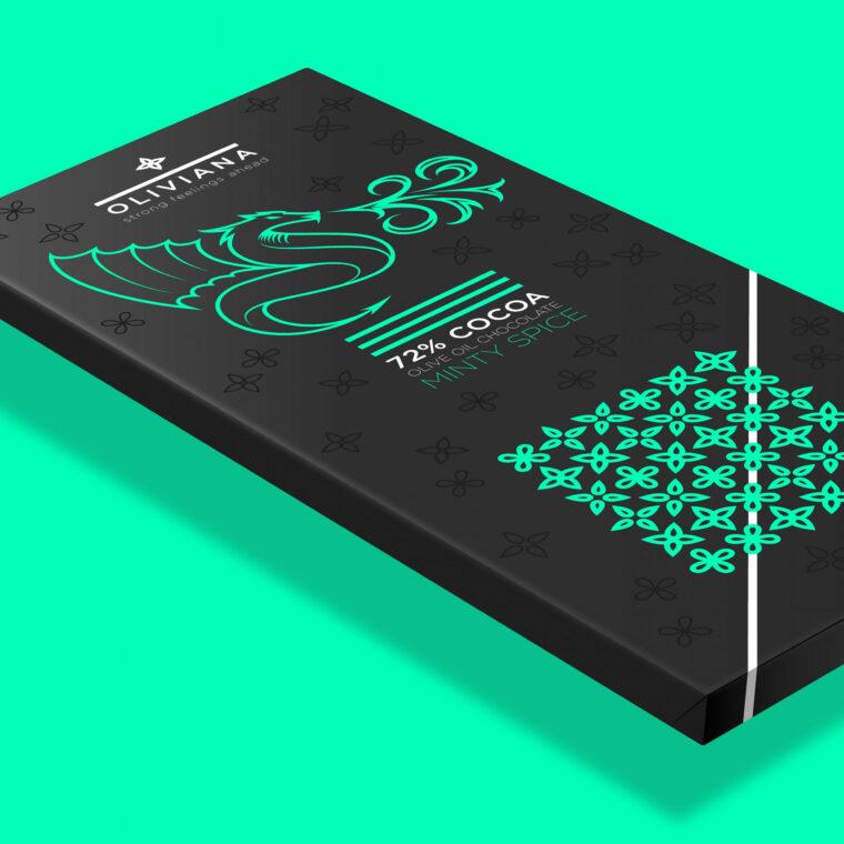 Creative illustration packaging design for Oliviana dark olive oil chocolate
