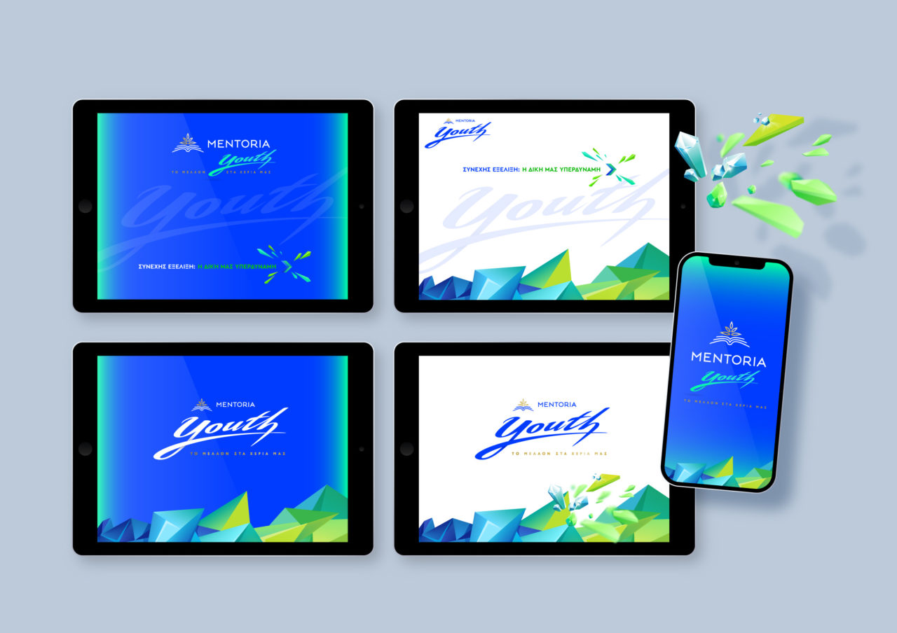 Tablet and mobile digital preview of Mentoria youth visual branding
