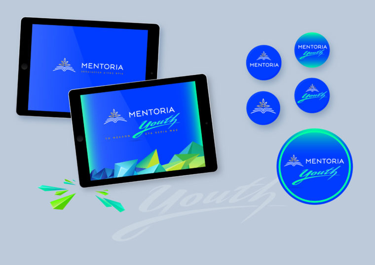Mentoria youth corporate identity applied on tablets and pins